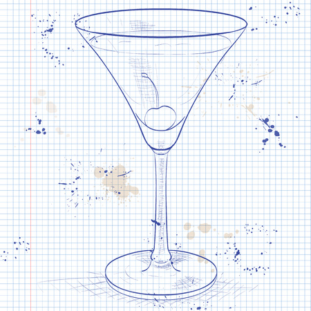 notebook page: Alcoholic cocktail Rose on a notebook page.