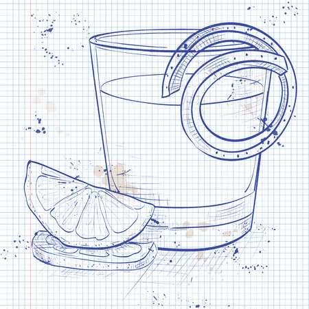 Classic sazerac cocktail with a lemon twist on a notebook page Illustration