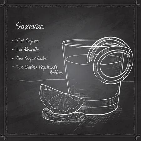 Classic sazerac cocktail with a lemon twist on black board Stock Vector - 53128373