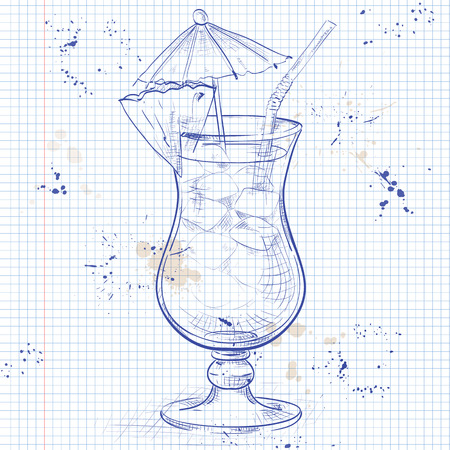 collins: The Singapore Sling cocktail isolated on a notebook page