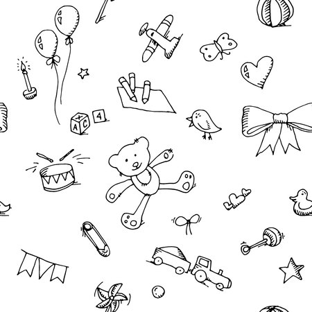 Cute doodle baby icons set seamless pattern.