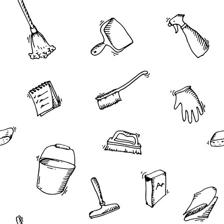 cleaning equipment: Seamless doodle pattern of house cleaning icons. Clean symbols, tools, Detergent, broom, sponge, mop, dust pan, brush, bleach, duster, washing liquid, vacuum cleaner, doodle icons, sketch House cleaning Illustration