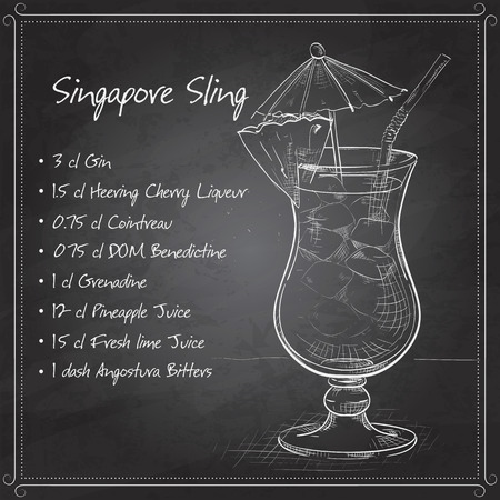 collins: The Singapore Sling cocktail isolated on black board