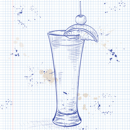 drinking straw: Tequila sunrise realistic cocktail in glass with lemon slice and drinking straw isolated on a notebook page
