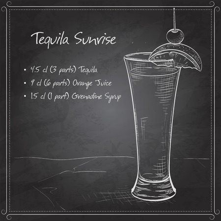 lemon slice: Tequila sunrise realistic cocktail in glass with lemon slice and drinking straw isolated on black board
