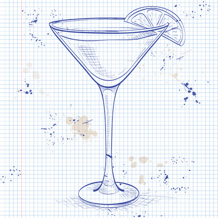 sec: White Lady Cocktail, consists of Gene, triple sec - orange liqueur, lemon, ice cubes on a notebook page Illustration
