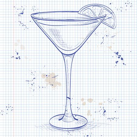 White Lady Cocktail, consists of Gene, triple sec - orange liqueur, lemon, ice cubes on a notebook page Ilustração