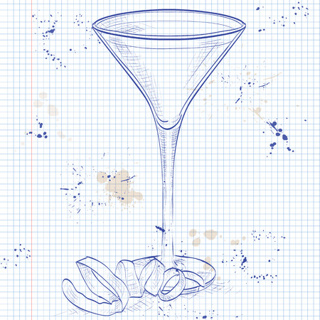 mixed drink: Cocktail Vesper mixed drink with Vodka, Gin, wine, Lemon on a notebook page