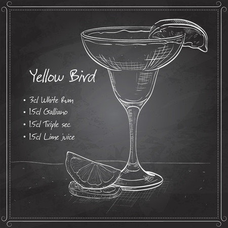 squeezed: Yellow Bird is a cocktail that contains rum, Galliano, triple sec and freshly squeezed lime juice on black board