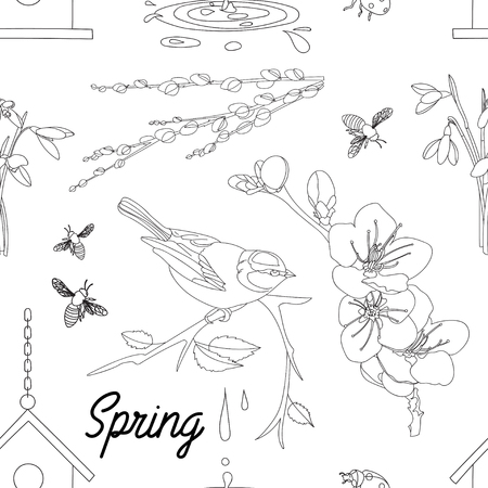 Style spring elements pattern. Vetores