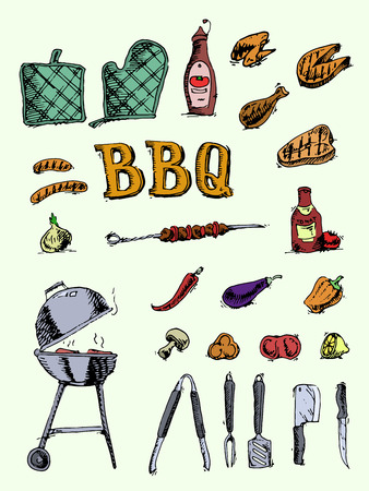 fish food: Doodle grill, barbecue icons set.