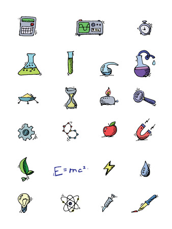 computer science: Science icons doodles set