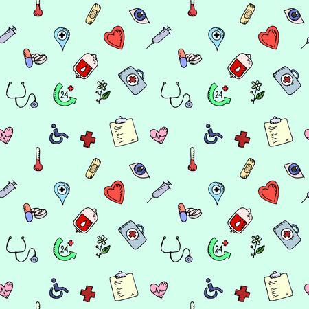 Seamless pattern Medical icons set over light background. 向量圖像