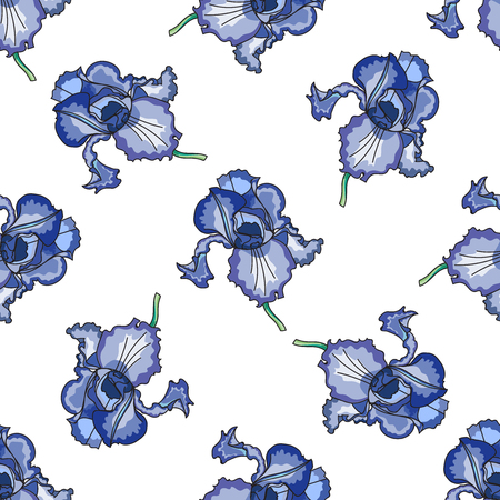 batik: Floral pattern with hand-drawn iris in batik style Illustration