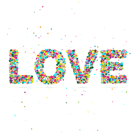 love blast: Love word consisting of colored particles.