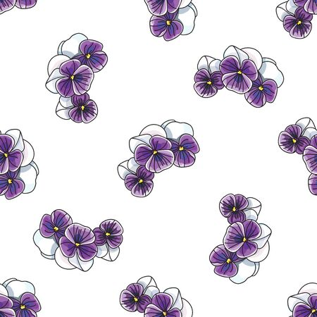 romanticist: Floral pattern with vintage pansies violet flower