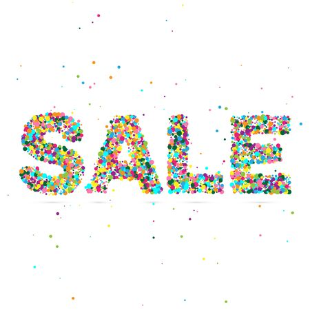 the particles: sale word consisting of colored particles.