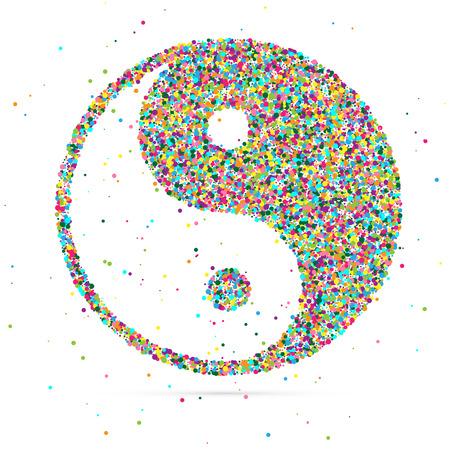 armonía: símbolo ying yang de la armonía y el equilibrio, que consiste en partículas de color