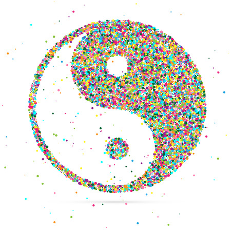 and harmony: Ying yang symbol of harmony and balance, consisting of colored particles