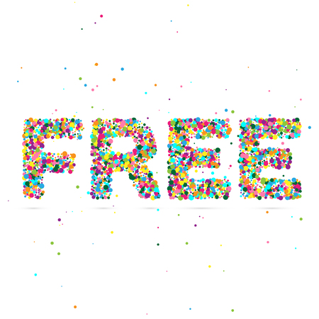 consisting: Free word consisting of colored particles. Vector illustration, EPS 10