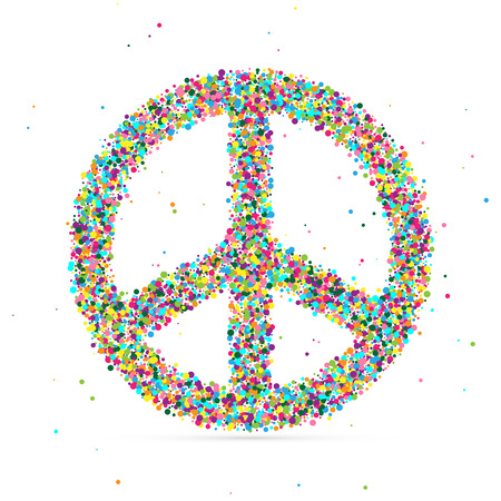 pacificist: peace symbol consisting of colored particles, vector illustration, EPS 10