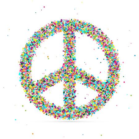 symbol of peace: símbolo de paz que consiste en partículas de color, ilustración vectorial, EPS 10