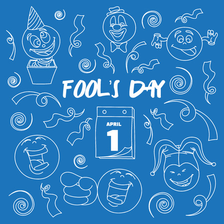 jack of hearts: Fools day- 1 April. Smile, laugh, joke. Vector illustration, EPS 10