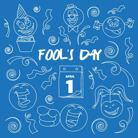 jack in a box: Fools day- 1 April. Smile, laugh, joke. Vector illustration, EPS 10