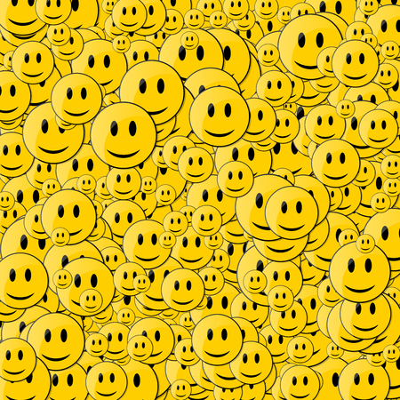 Faces with Smile. Happy face background. Smileys in Motion. Stock Illustratie