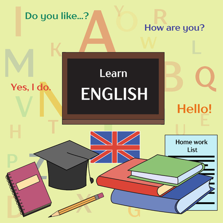 talking dictionary: Learn english concept. Books, training, education. Vector illustration, EPS 10