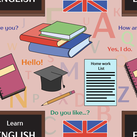 talking dictionary: Learn english concept pattern. Books, training, education. Vector illustration, EPS 10