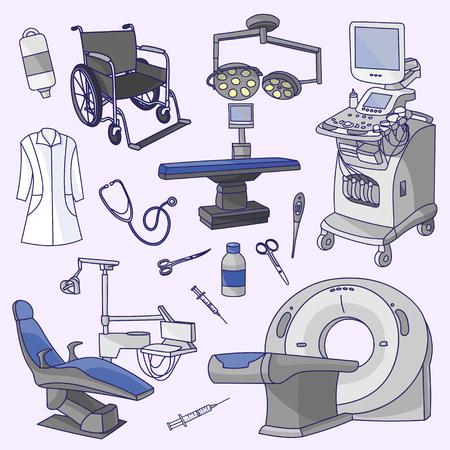 medical center: Medical center infographic with healthcare symbols. Hospital professionals Illustration