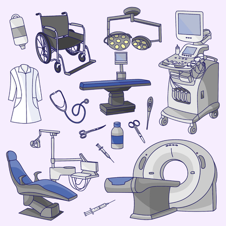 Medical center infographic with healthcare symbols. Hospital professionals Illustration
