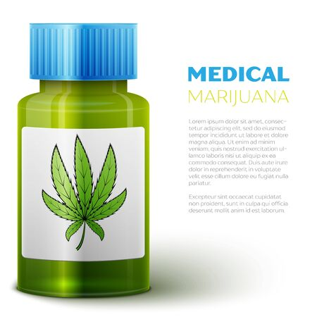 tetrahydrocannabinol: Medical marijuana prescription with prescription bottle, container and lid. Illustration