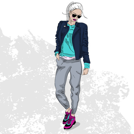 sexy teenage girl: High fashion look color. Glamor stylish beautiful young woman model. Bright colorful cloth. Illustration