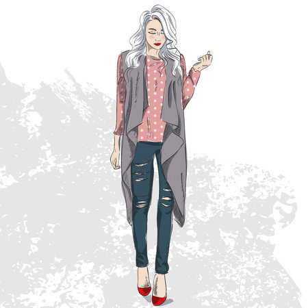 High fashion look color. Glamor stylish beautiful young woman model. Bright colorful cloth. Illustration