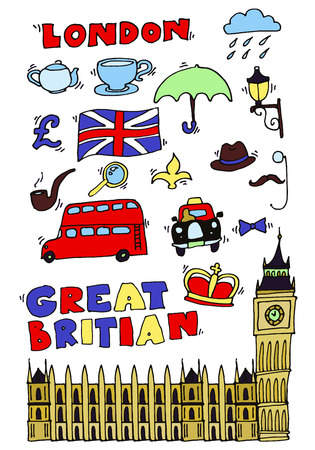 policeman: Vector hand drawn London set with elements Big Ben clock, flag of Great Britain, policeman helmet, red bus, umbrella, boots, Street light Illustration