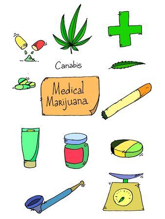 dispensary: Medical marijuana icons. Medical marijuana icons art. Medical marijuana set. Medical marijuana set art Illustration