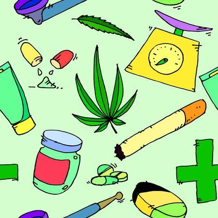 medico caricatura: Iconos de la marihuana medicinal. patrón de la marihuana medicinal. La marihuana medicinal iconos nuevo conjunto marihuana .. médica. La marihuana medicinal conjunto de arte