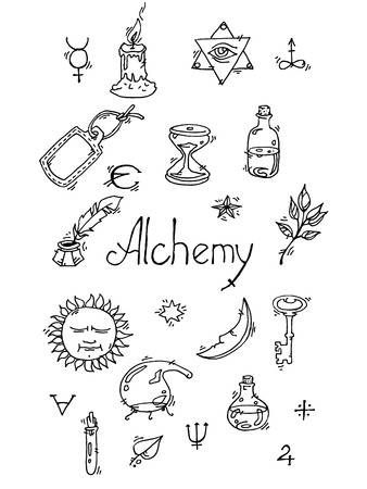 medieval medicine: Set of trendy vector Alchemy symbols collection on grunge background.