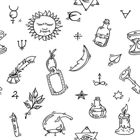medieval medicine: Pattern of trendy vector Alchemy symbols collection on white background.