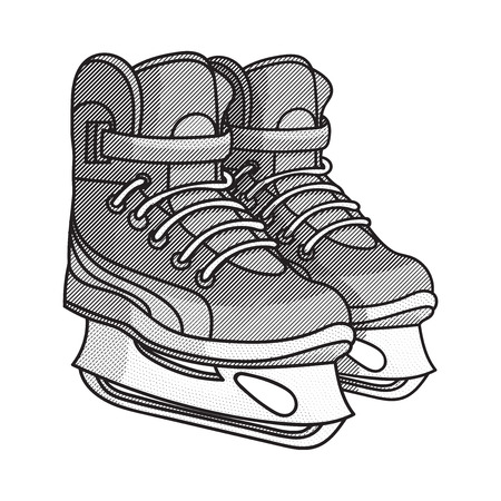 skate park: Hand Drawn Illustration of etching ice skates, vector illustration Illustration