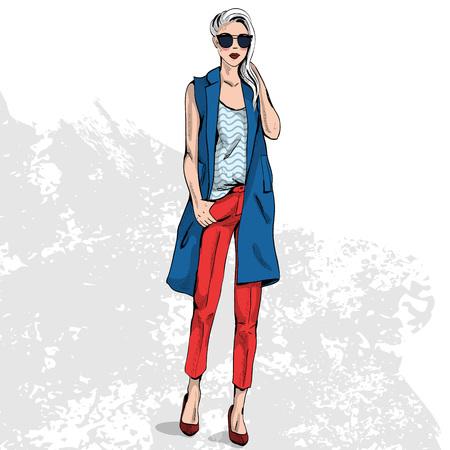 Haute couture de couleur look. Glamor élégant belle jeune femme modèle. tissu coloré brillant. Vecteurs