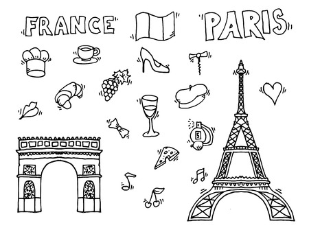 i love paris: Hand drawn Paris illustration. Love Paris design. Vector illustration