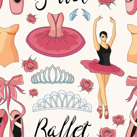 ballet tutu: Ballet colorful pattern with ballet shoes, ballet tutu, ballerina, applause. Vector ballerina isolated. Illustration