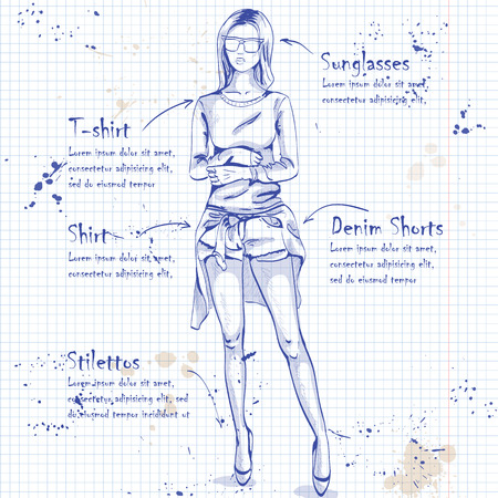 hot teenage girl: Fashion look on a notebook page. Glamor stylish beautiful young woman model. Illustration