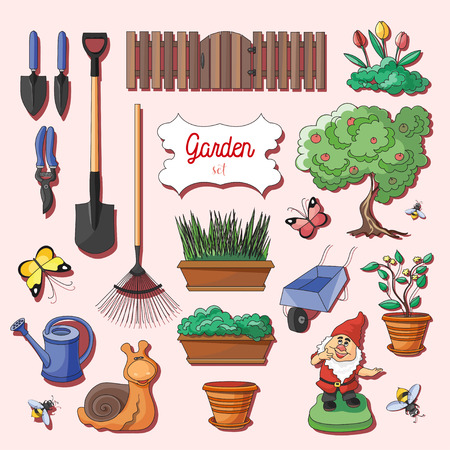 dacha: Gardening icons set. Gardening objects. Vector illustration Illustration