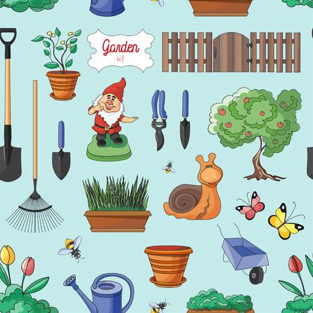 dacha: Gardening colorful pattern. Gardening objects. Vector illustration