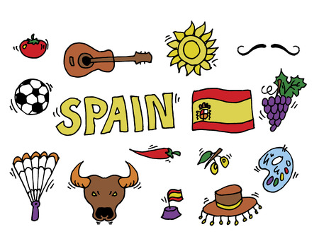 gaudi: Love Spain, doodles symbols of Spain. Vector illustration