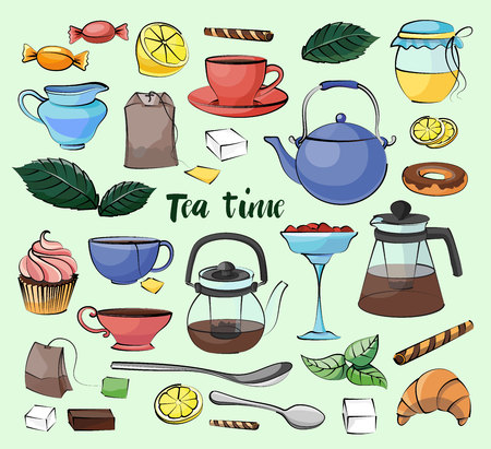 torte: Tea Time Set. Hand drawn icons